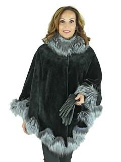 Woman's Black Sheared Mink Fur Cape