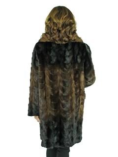 Woman's Brown Degrade Mink Fur Section Stroller