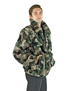 Men's Camo Mink Fur Section Jacket