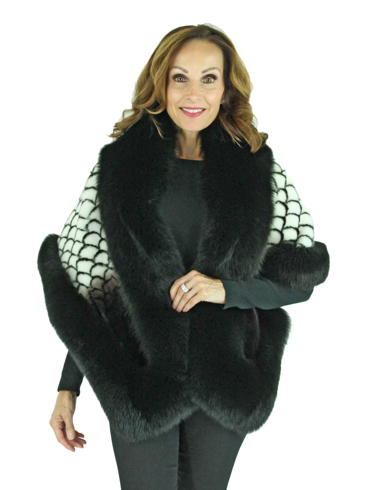 Woman's Black and White Printed Mink Stole