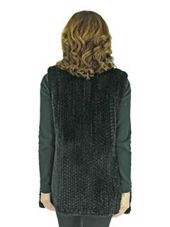 Woman's Black Knitted Rex Rabbit Fur Vest