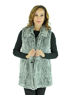 Woman's Chinchilla Dyed Knitted Rex Rabbit Fur Vest