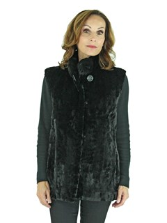 Woman's Black Sheared Mink Fur Section Vest