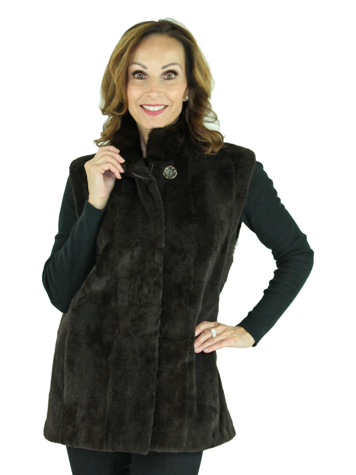 Woman's Brown Sheared Mink Fur Section Vest