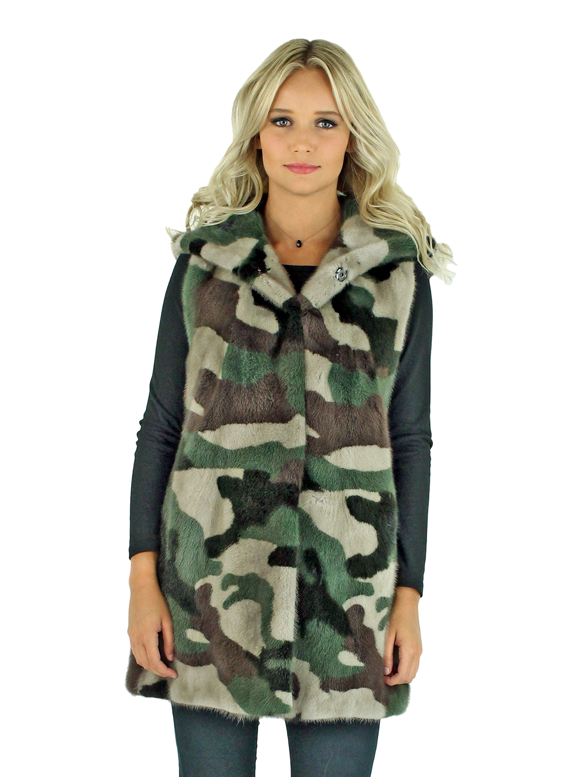 Woman's Camo Mink Fur Vest with Hood