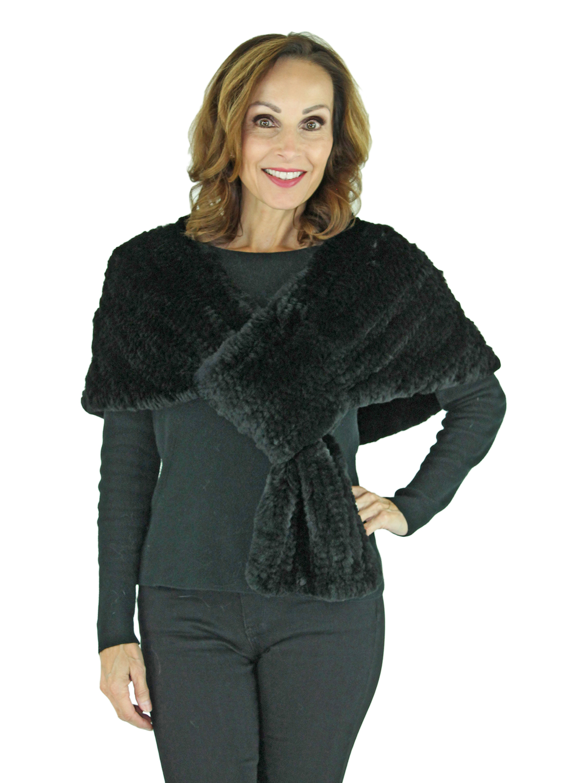 Woman's Black Knitted Rex Rabbit Fur Stole
