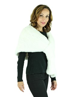 Woman's White Knitted Rex Rabbit Fur Stole