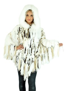 Woman's White Knitted Rex Rabbit and Raccoon Fur Poncho