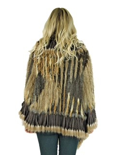Woman's Natural Knitted Rex Rabbit and Raccoon Fur Poncho