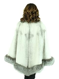 Woman's Natural Black Cross Mink Fur Cape with Silver Fox Trim