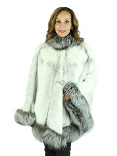 Woman's Natural Black Cross Mink Fur Cape with Silver Fox Trim