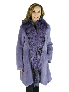 Woman's Purple Mink Fur Stroller