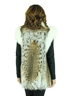 Woman's Natural Lynx Fur Vest with White Fox Trim