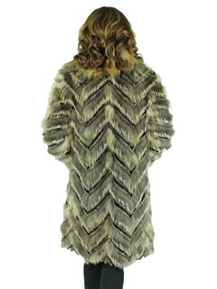 Woman's Camel Dyed Silver Fox and Rex Rabbit Fur Stroller