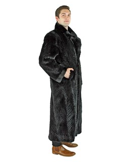 Man's Black Sheared Mink Tails Fur Coat