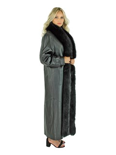 Woman's Black Lamb Nappa Leather Coat
