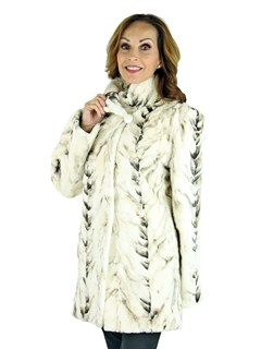 Woman's Beige and White Bleached Sheared Mink Fur Section Jacket