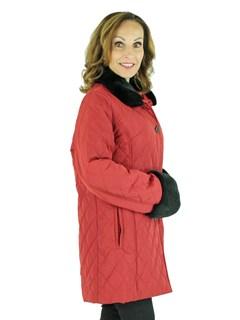 Woman's Red Taffeta Jacket with Black Rex Rabbit Fur Collar and Cuffs