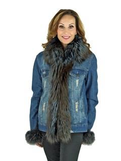 Woman's Denim Jean Jacket with Fox Trim