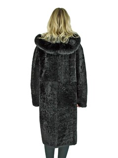 Woman's Black Shearling Lamb Coat Reversible To Black Leather with Fox Fur Trimmed Hood