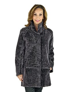 Woman's Castle Rock Grey Astra Shearling Jacket Reversible to Grey Leather