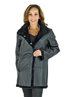 Woman's Navy Astra Shearling Jacket Reversible to Navy Leather