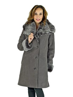 Woman's Frost Grey Shearling Lamb Hooded Stroller