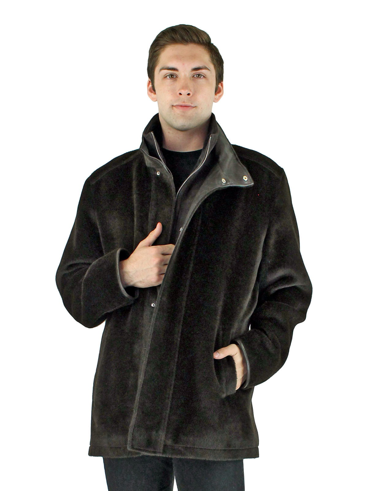 Man's Brown Alpaca Wool Jacket with Leather Trim