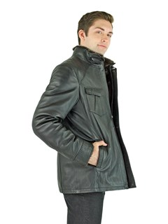 Man's Black Leather and Brown Shearling Fur Jacket