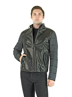 Man's Black Leather and Quilted Fabric Zipper Jacket