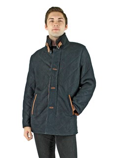 Man's Navy Quilted Shearling Lamb Jacket