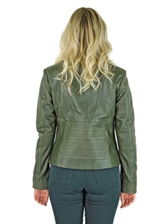 Woman's Olive Leather Zipper Jacket