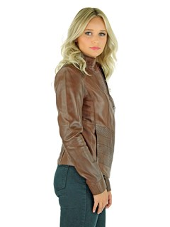 Woman's Sierra Brown Leather Zipper Jacket