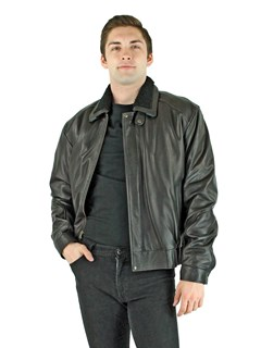 Man's Black Leather Zipper Jacket with Detachable Shearling Lamb Collar