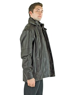 Man's Brown Leather Zipper Jacket with Detachable Shearling Lamb Collar