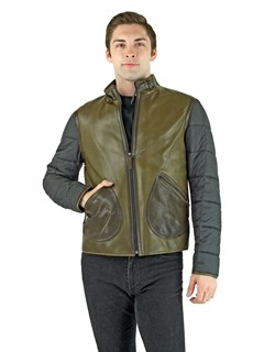 Man's Khaki Brown Leather and Black Quilted Fabric Zipper Jacket