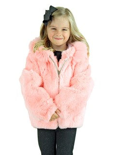 Kid's Pink Rex Rabbit Fur Jacket with Hood
