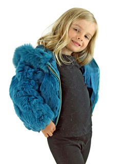 Kid's Lake Blue Rex Rabbit Section Fur Jacket with Hood