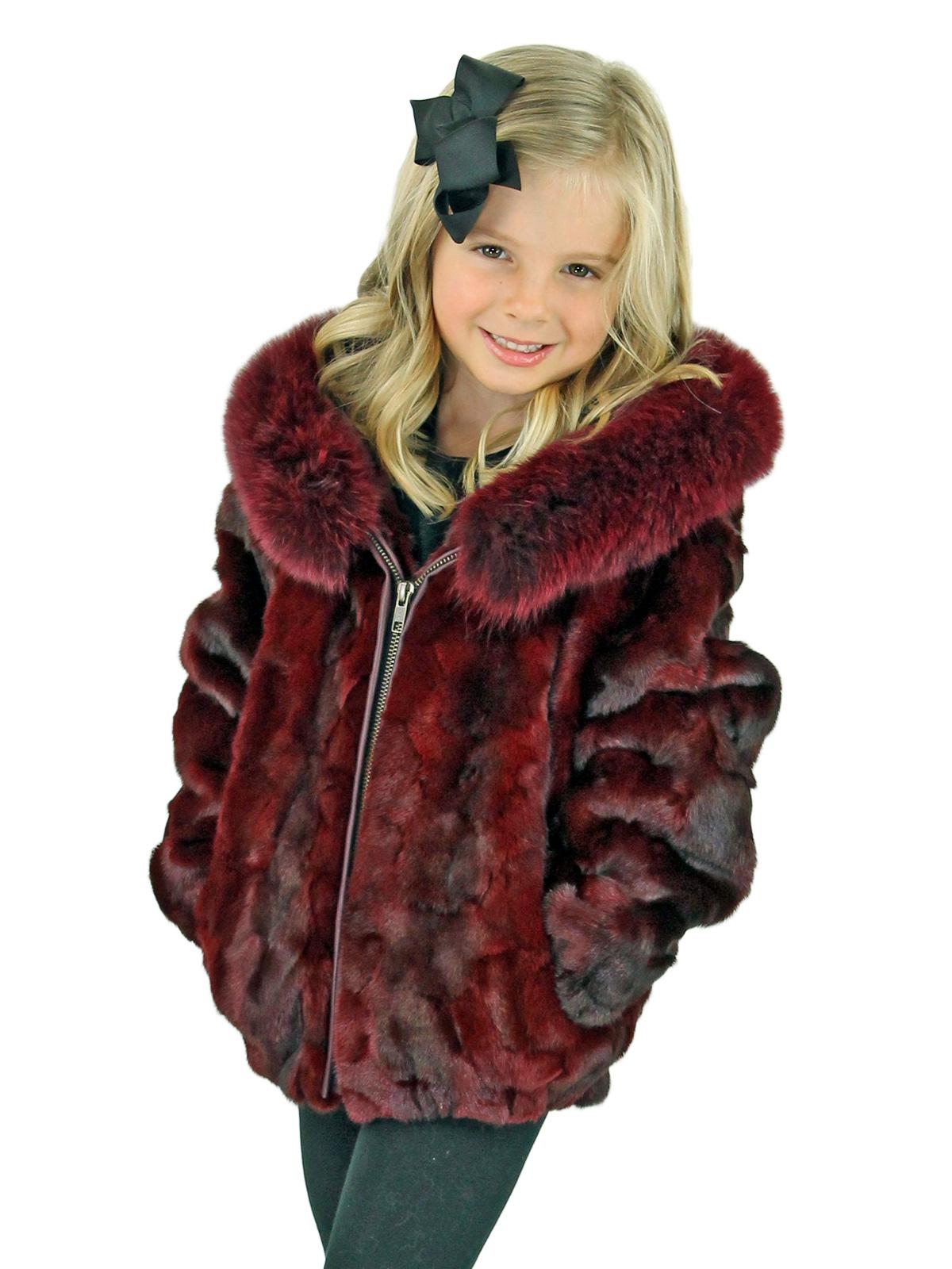 Kid's Burgundy Diamond Mink Fur Jacket with Hood