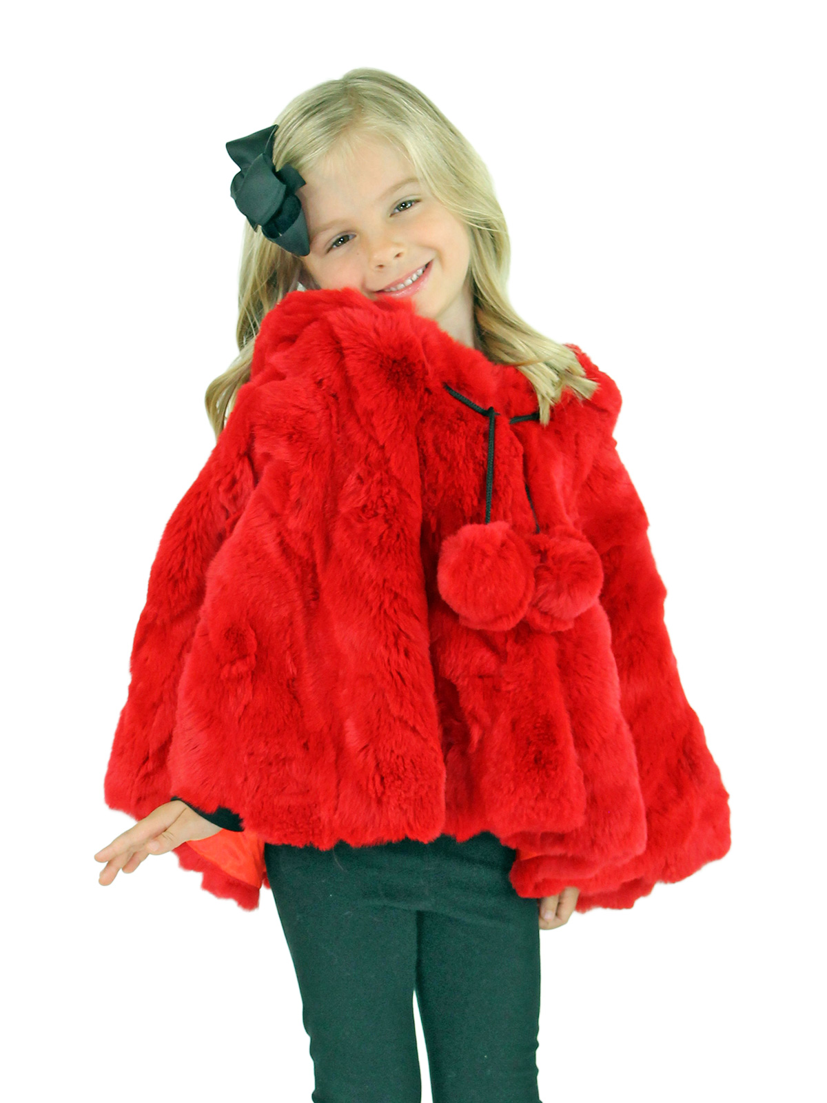Kid's Red Rex Rabbit Section Fur Cape with Hood