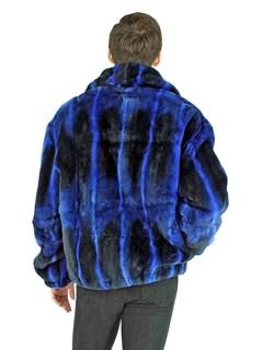 Man's Royal Blue Rex Rabbit Fur Jacket