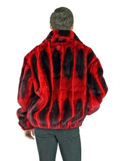 Man's Red Rex Rabbit Fur Jacket