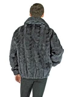Man's Blue Iris Mink Fur Section Bomber Jacket