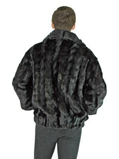 Man's Black Mink Fur Section Bomber Jacket