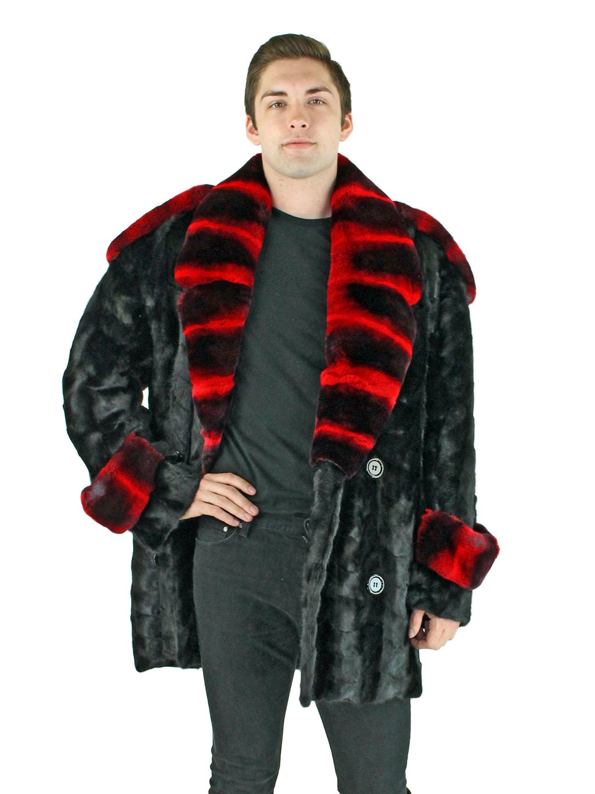 Man's Black Mink Section Fur Pea Coat