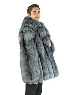 Man's Natural Silver Fox Fur Stroller