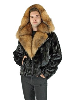 Man's Black Mink Section Fur Motor Jacket with Crystal Fox Collar