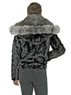 Man's Black Mink Section Fur Motor Jacket with Silver Fox Collar