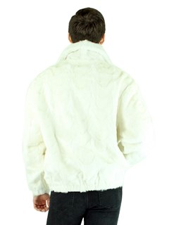 Man's White Mink Fur Section Bomber Jacket