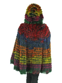 Woman's Multicolor Dyed Fox Fur Cape with Hood